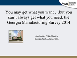 You may get what you want …but you can't always get what you need: the Georgia Manufacturing Survey 2014