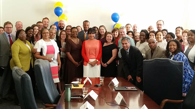 Secretary Pritzker with EDA staff for EDA's 50th anniversary celebration