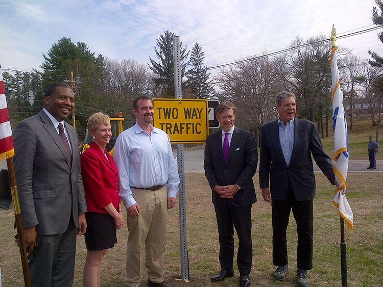 DAS Erskine and representatives from the Devens, Massachusetts Community at a grant announcement to improve road access for local manufacturing