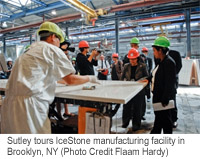 Sutley tours IceStone manufacturing facility in Brooklyn, NY (Photo Credit Flaam Hardy)