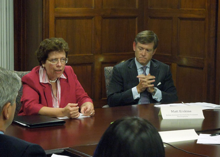 Acting Secretary of Commerce Rebecca Blank and Deputy Assistant Secretary Matt Erskine attend a quarterly meeting of the National Advisory Council on Innovation and Entrepreneurship in November.