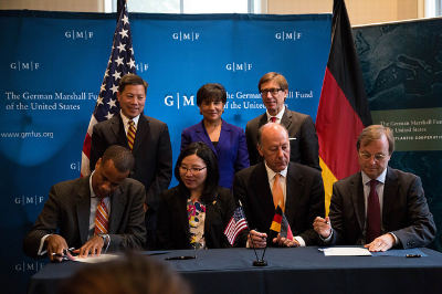Assistant Secretary Williams (left) joins Secretary Pritzker (center) to sign an MOU with Germany