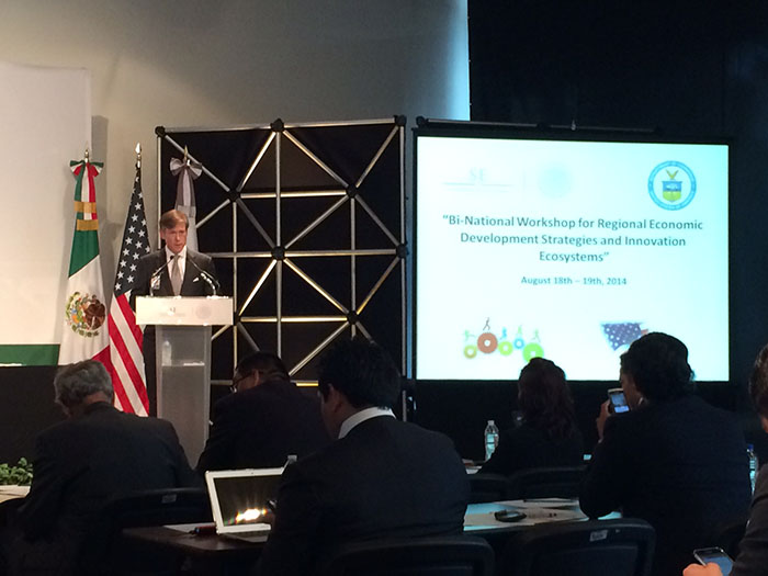 Deputy Assistant Secretaries Matt Erskine and Tom Guevara participate in the Bi-National Workshop for Regional Economic Development Strategies and Innovation Ecosystems in Mexico.