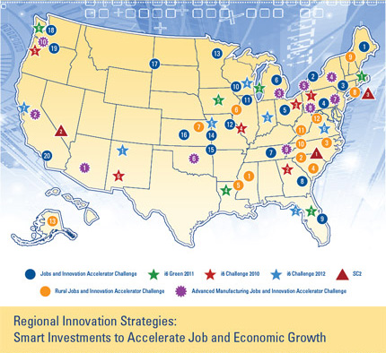 Regional Innovation Strategies: Smart Investments to Accelerate Job and Economic Growth.  Image shows map of locations of all EDA award winners