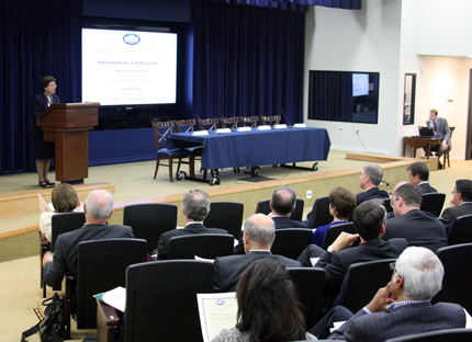 Members of the National Advisory Council on Innovation and Entrepreneurship and representatives of institutions of higher education listen to a presentation by Acting Secretary of Commerce Rebecca Blank at the White House Conference Center on October 1.