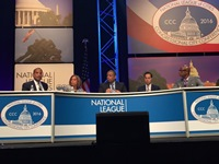Assistant Secretary Williams, HUD Secretary Julian Castro, DOT Secretary Anthony Foxx, and NLC Executive Director Clarence Anthony at the 2016 NLC Congressional City Conference
