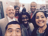 Assistant Secretary Williams, Julie Wenah and Breelyn Pete taking a selfie with a few members from the IMCP AgPlus community at the San Joaquin Manufacturing Summit in Fresno, CA