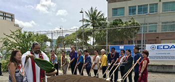 The groundbreaking ceremony of the Entrepreneur's Sandbox Facility in Honolulu, Hawaii in April 2018