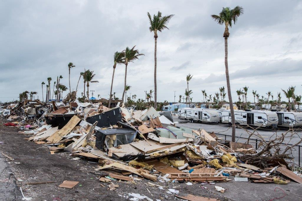 Debris in the wake of a hurricane