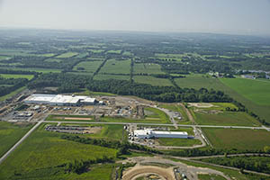 Aerial view of the Genesee Valley Agri-Business Park in Batavia, New York.