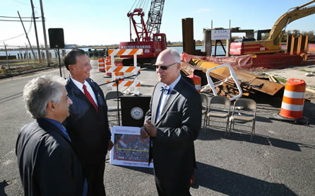 Friday October 30, 2015: Local officials announce the beginning of work on the Baltic Avenue Canal project. (Photo Courtesy: The Press of Atlantic City/ Ben Fogletto)