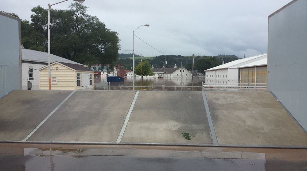 Flood wall in Bloomsburg, PA holds back recent flood waters in August 2018