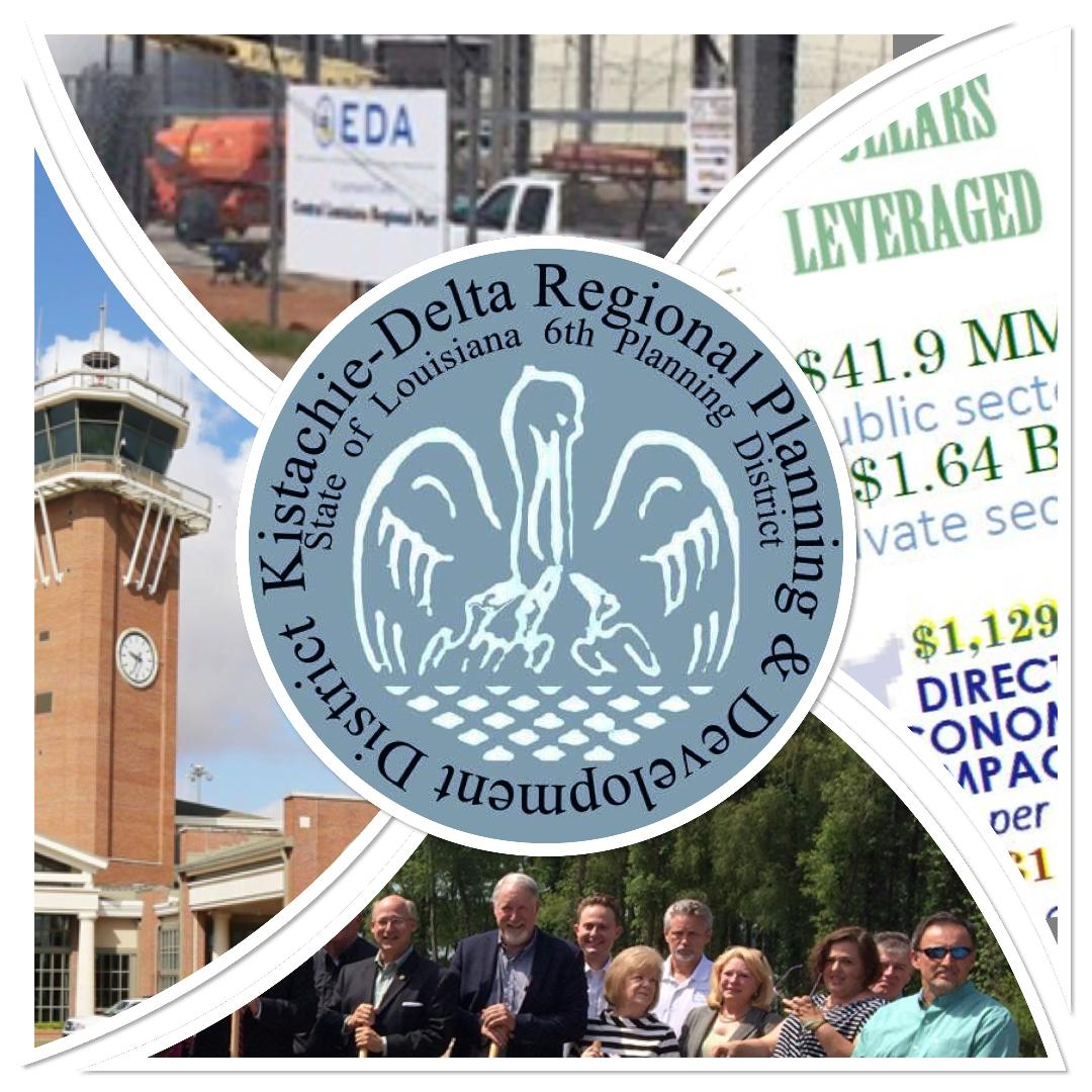 Kisatchie-Delta Regional Planning & Development District seal and project photo collage